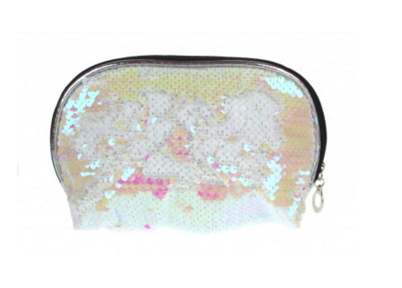 Toilettas/make-up tas met omgeslagen pailletten 20 x 13 x 5 cm