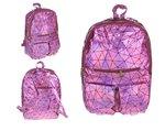 Holografische rugzak met geometrisch patroon roze