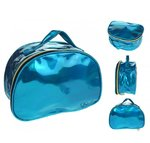 Blauwe holografische toilettas make-up tas