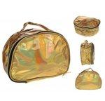 Donker gouden holografische toilettas make-up tas