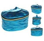 Blauwe holografische toilettas make-up tas