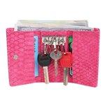 Croco portemonnee en sleuteletui - roze - 11.5 x 7 cm