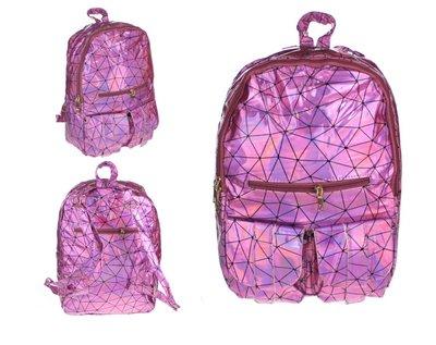 Holografische rugtas met geometrisch patroon roze