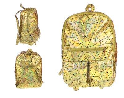 Holografische rugtas met geometrisch patroon goud