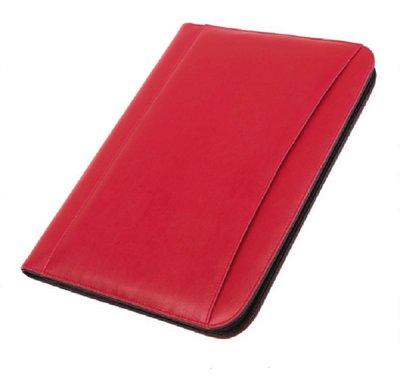 A4 portfolio schrijfmap  met rits en rekenmachine rood