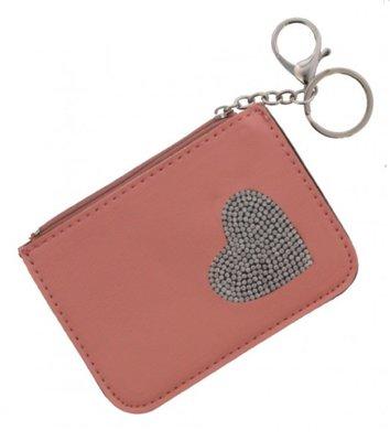 Portemonnee - sleutelhanger- hartje - PU - roze - 12x9 cm - Ultimate Travelstyle