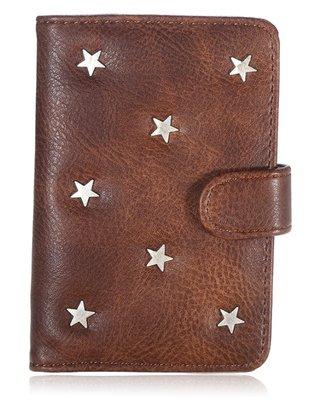 Paspoorthoesje Stars donker bruin