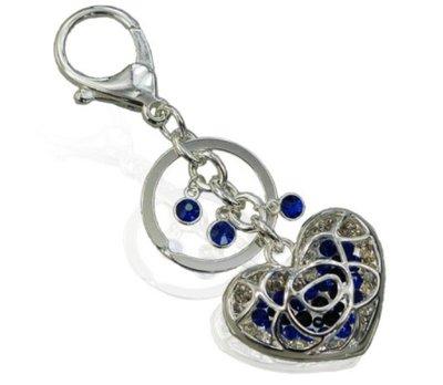 Sleutel-/tassenhanger love blauw