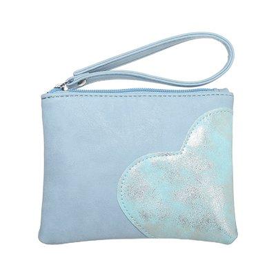 Trendy toilettasje/clutch/portemonnee heart blauw