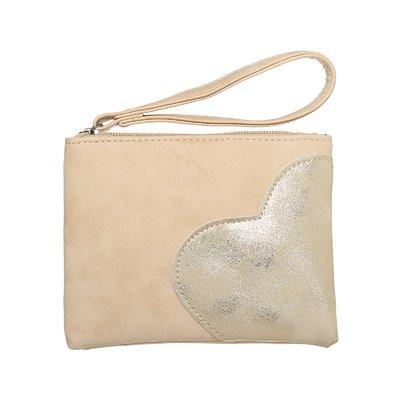 Trendy toilettasje/clutch/portemonnee heart bruin