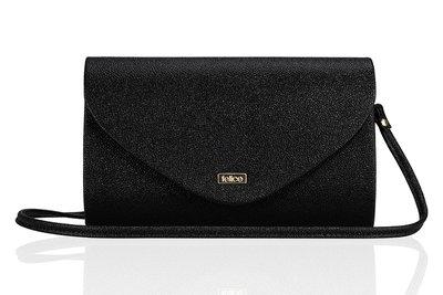 Elegante clutch/schoudertas zwarte glitter
