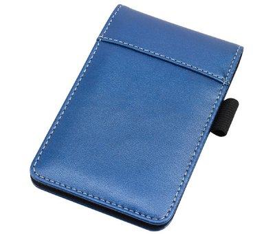 Blauw kunstleren notefolio | met schrijfblokje | gevoerd | 13,9x8,9x1,8 cm