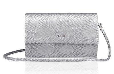 Elegante clutch/schoudertas snakeprint zilver