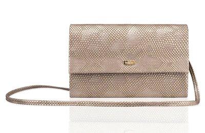 Elegante clutch/schoudertas snakeprint goud
