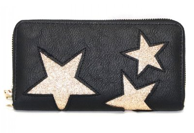 c7cf93f7677 Ultimate Travelstyle - dames ritsportemonnee - zwart - gouden glitter  sterren - afneembare draagketting - 20