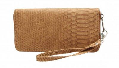 Dames ritsportemonnee snake met afneembare polsband bruin