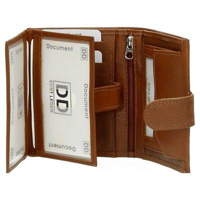 Double-D - dames portemonnee- echt leer - bruin