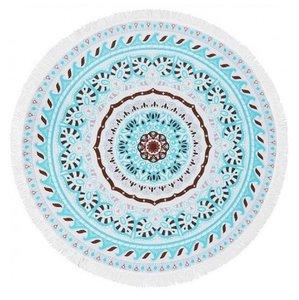 Strandlaken - rond - BOHO - blauw-wit-bruin - ø 150cm