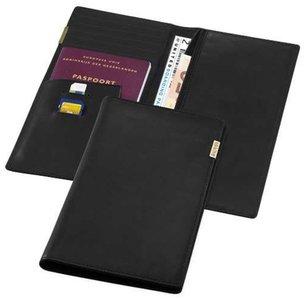 Balmain Paris - Paspoorthoesje - Reisdocumenten - Ticket - Portemonnee - Luxe - Leer - Zwart - 23x12 cm