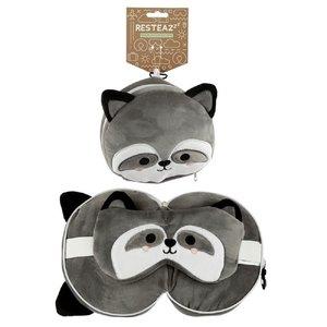 Puckator - Resteazzz - Nekkussen met Slaapmasker - Grijze Wasbeer rond nekkussen - Neksteun voor Reis Vliegtuig/Auto/Bus - Panda -