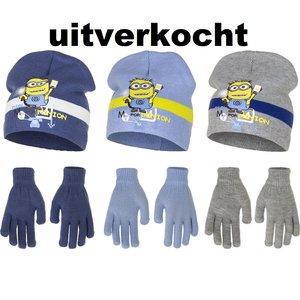 Minions muts met handschoenen set