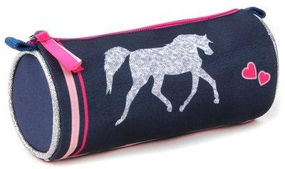 Milky Kiss etui/pennenzak The Winner paard blauw/zilver